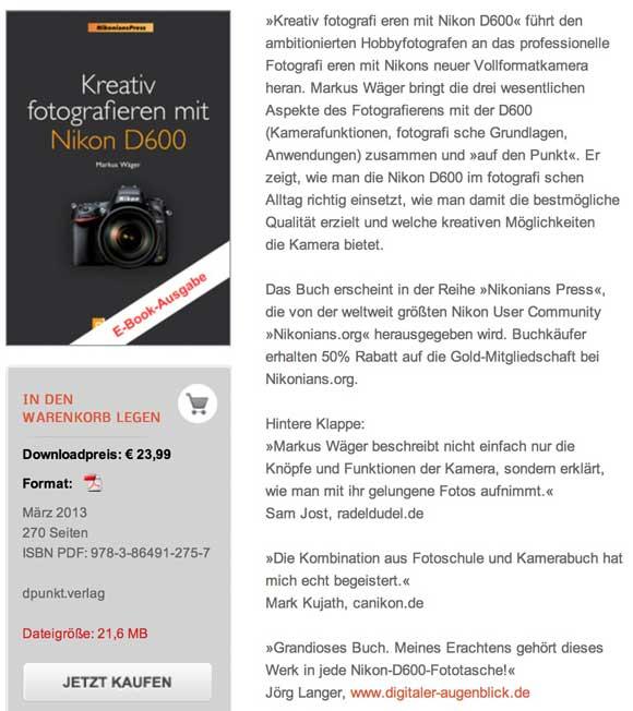 dpunkt.verlag :: Kreativ fotografieren mit Nikon D600
